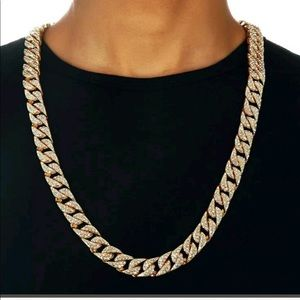 New 18 k yellow gold iced out Cuban chain necklace